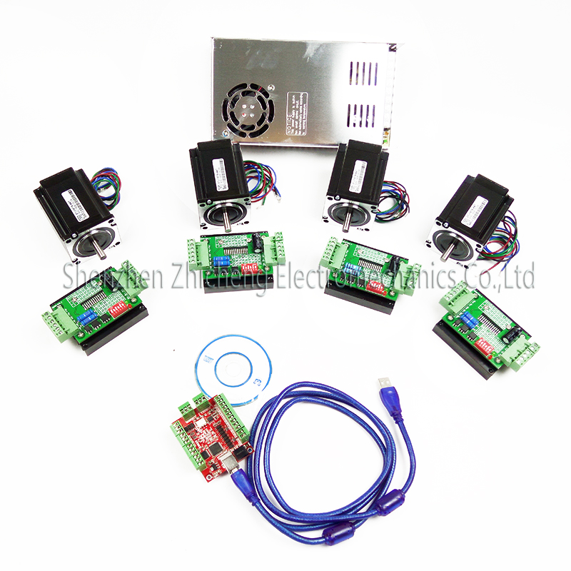 все цены на  CNC mach3 USB 4 Axis Kit, 4pcs TB6600stepper driver+ mach3 USB stepper motor controller board+ 4pcs nema17 motor +power supply  онлайн