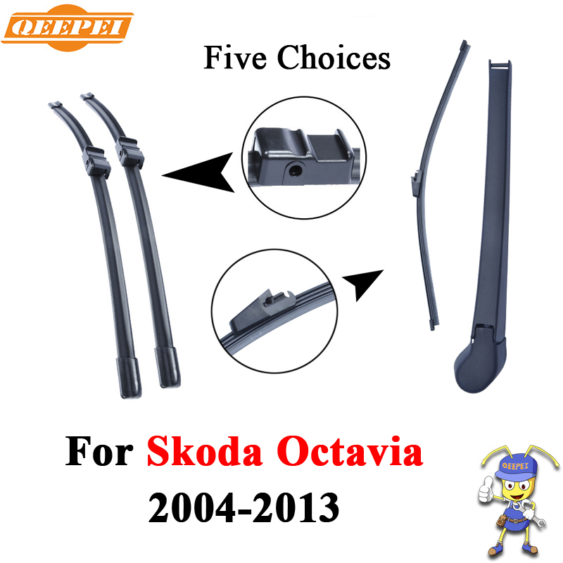 QEEPEI Front And Rear Wiper Arm Blades For Skoda Octavia 2004-2013 Silicone Rubber Windshield Windscreen Auto Car Wiper