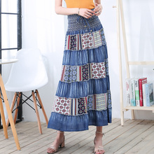 Woman Vintage Long Denim Skirt 2019 Spring Summer National Style Geometric Print Patchwork A Line Maxi Elegant OL
