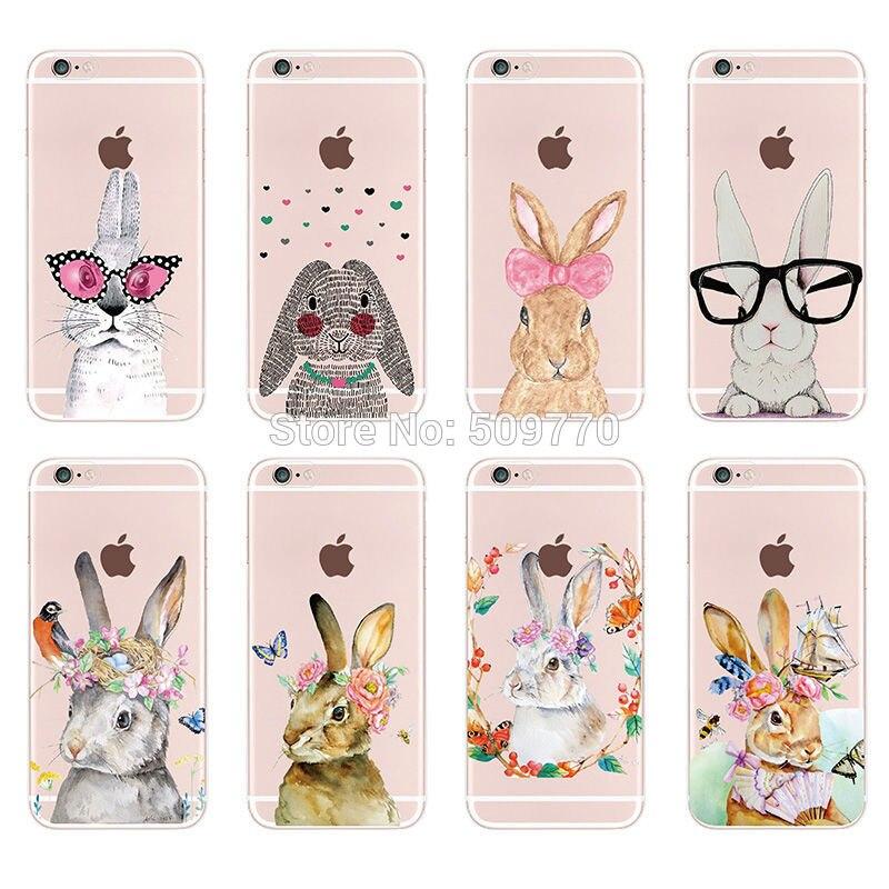Conejo lindo romántico case cover para iphone 5 5s se ilustración 6 6 s plus tra