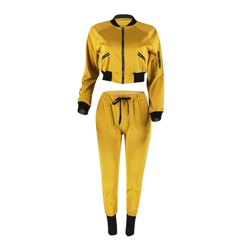 0d9377966 US $21.39 45% OFF|Plus Size Tracksuit Women Set Sweat Suits Yellow Bomber  Jacket Top and Pants Set Ladies Walking Leisure Suits Two Piece Outfits-in  ...