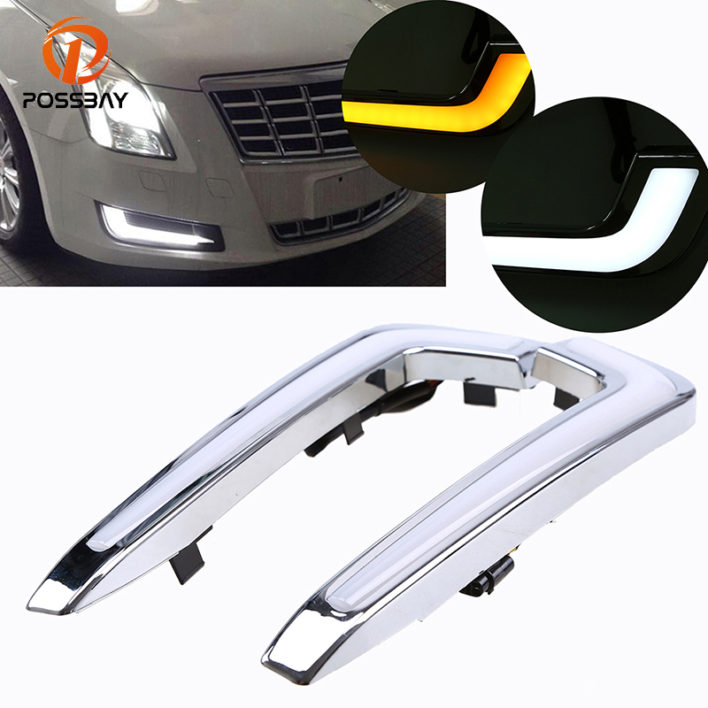 POSSBAY LED DRL Daytime Running Light for Cadillac XTS 2013/2014-2017 Pre-facelift White+Yellow Fog Light Foglamp Car-styling possbay car led drl daytime running lights fog light for chery tiggo 5 t21 2013 2014 2015 with white yellow turn signal light