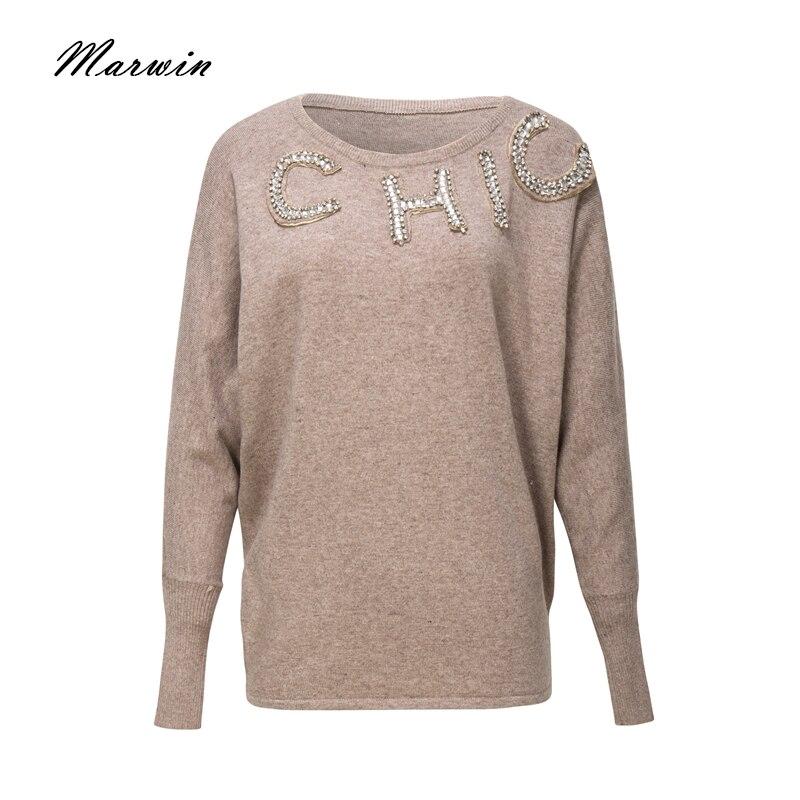 Повседневные вязаные свитера Marwin, однотонные мягкие свитера с круглым вырезом и бусинами, 2018