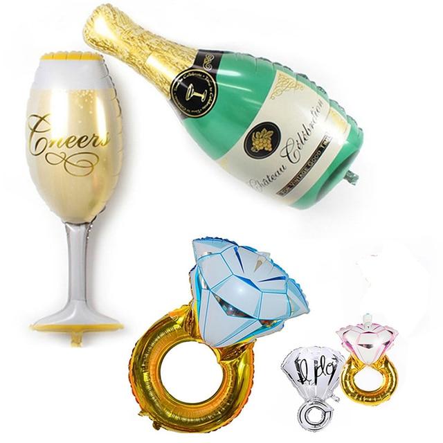 Globos de papel de champán de diamante para decoración de boda decoraciones de fiesta de cumpleaños niños adultos despedida de soltera evento suministros de fiesta