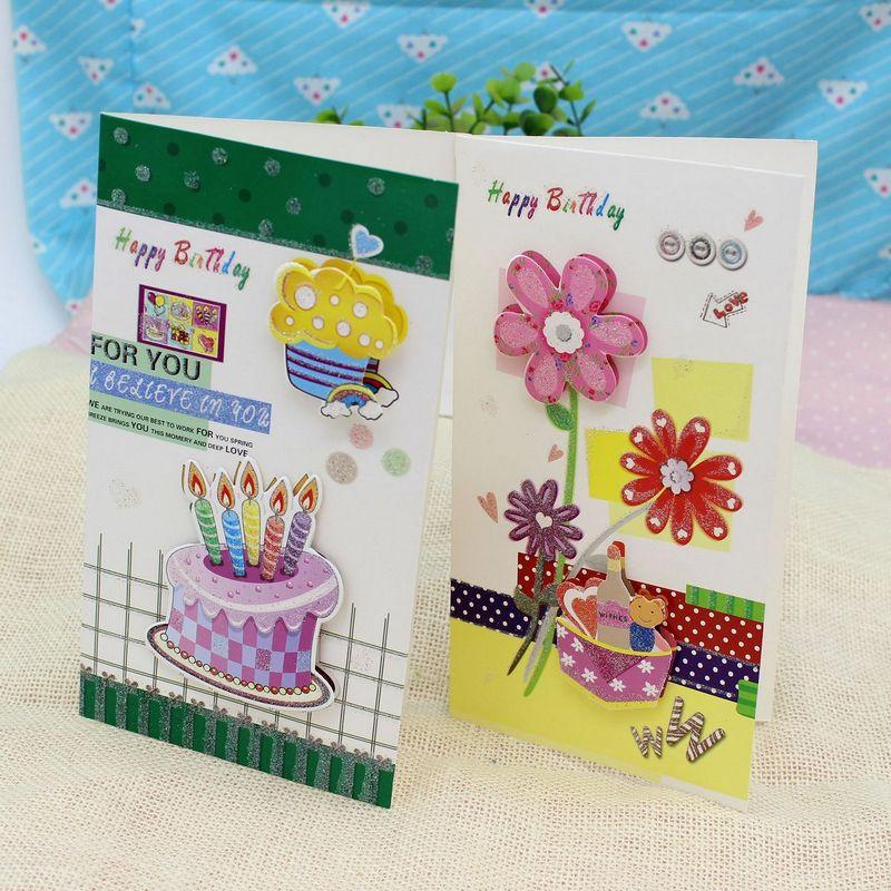 8 Pieces Lot Korea Creative Happy Birthday Greeting Card Message