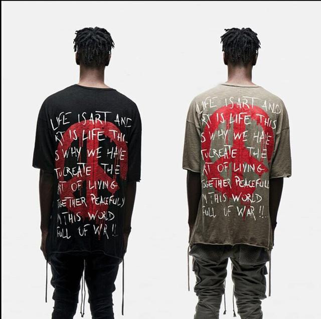 De calidad superior delgado Slub algodón streetwear kanye west Libertad Paz Mundial de gran tamaño Camisetas caer los hombros ropa de hip hop