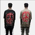 Top quality fina Slub cotton streetwear kanye west T-shirt de grandes dimensões da Liberdade da Paz Mundial caindo ombros roupas de hip hop