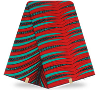 Free Shipping 6yards Pc Beautiful Red And Green Stripes Design African Real Wax Fabric Cotton Ankara