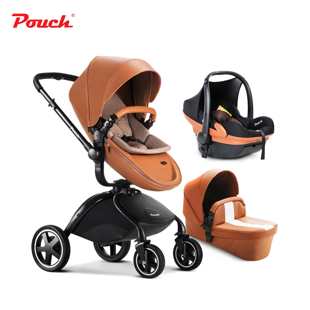 3 in 1 Pouch baby strollers including car seat baby stroller and baby sleeping basket leather white and brown fabric red coffee