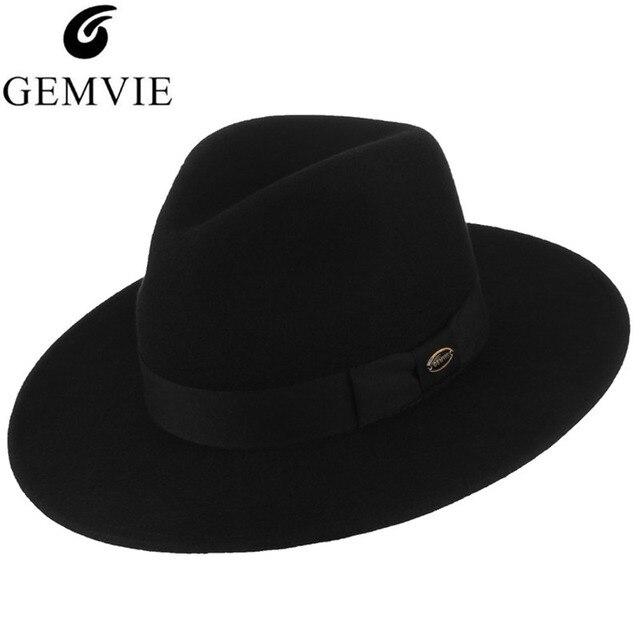 9e70a6fe763 Unisex Classical Fedoras Black Solid Wool Fedora Hat GEMVIE Men Women  Vintage Wide Brim Wool Felt