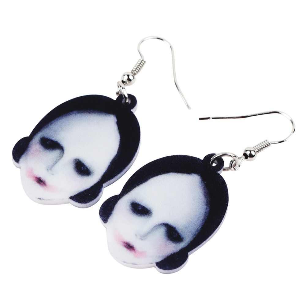 Bonsny Acrylic Halloween Kinh Hoàng Búp Bê Bông Tai Big Dài Dangle Earrings Drop Mới Lạ Trang Sức Cho Cô Gái Nữ Ladies Teens Bán Buôn