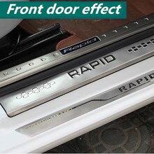 Нержавеющая сталь, 4 шт./лот, накладки на пороги, приветствуются, накладки на педали, авто стиль, для Skoda-, быстрая/быстрая, Spaceback