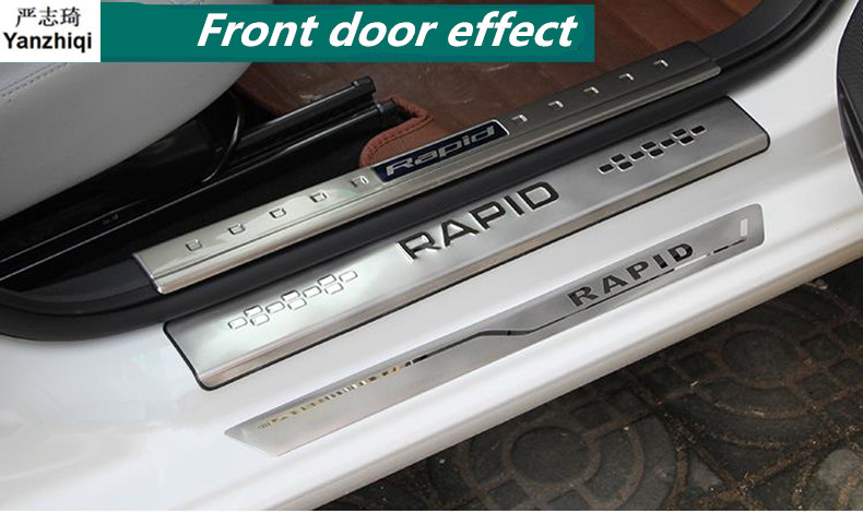 Stainless Steel 4pcs/lot Door Sill Strip Welcome Pedal Trim Covers Auto Car Styling For Skoda 2014-2017 Rapid / Rapid Spaceback