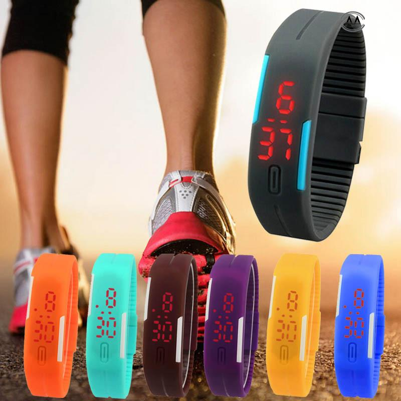New Ultra Thin Girl Sports Silicone Digital LED Sports Wrist Watch - Men's Watches