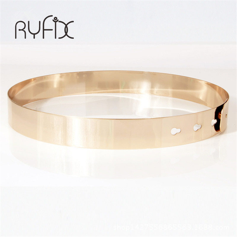 Image 1 - Women Punk Full Metal Mirror skinny Waist Belt 2019 Metallic Gold Plate 3cm Wide Chains Lady ceinture sashes for dresses BL02 2-in Women's Belts from Apparel Accessories