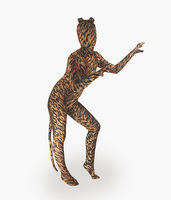 Adult Spandex Lycra Unisex tiger Print Animal Full Body Zentai Suit with Ear and Tail Skin Tight Unitard Zentai Costume bodysuit