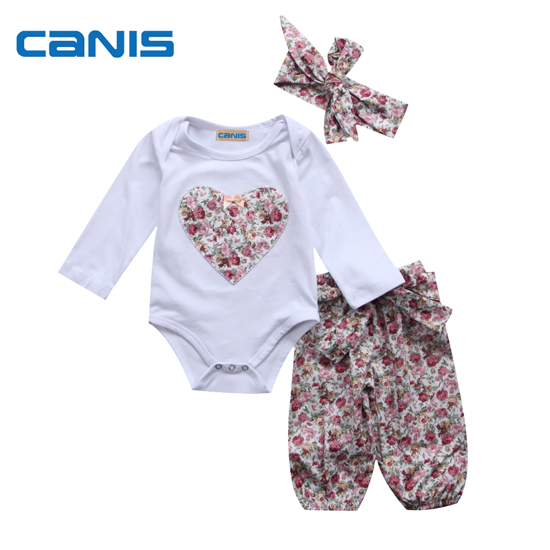 3Pcs Casual Baby Girls Clothes Newborn Infant Baby Girl Outfits Bodysuit Harlan Pants Leggings Outfits Clothes Set