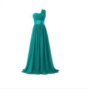 Image 4 - QNZL02 # หนึ่งไหล่กลับซิปยาวสีฟ้าสีแดงสีเขียวชีฟองชุดเจ้าสาวงานแต่งงานชุดสาวสุภาพสตรีฟรีปรับแต่ง