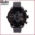 Oulm Relógios Homens relojes mujer 2016 aço Inoxidável Duplo Movt Números Horas Quartz Homens Relógios Desportivos Militar reloj hombre