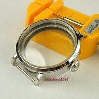 NOVA 46mm parnis aço inoxidável polido Caso fit 6498 6497 Caixa do Relógio de vidro mineral endurecido Movimento Do Vento Mão Mecânica