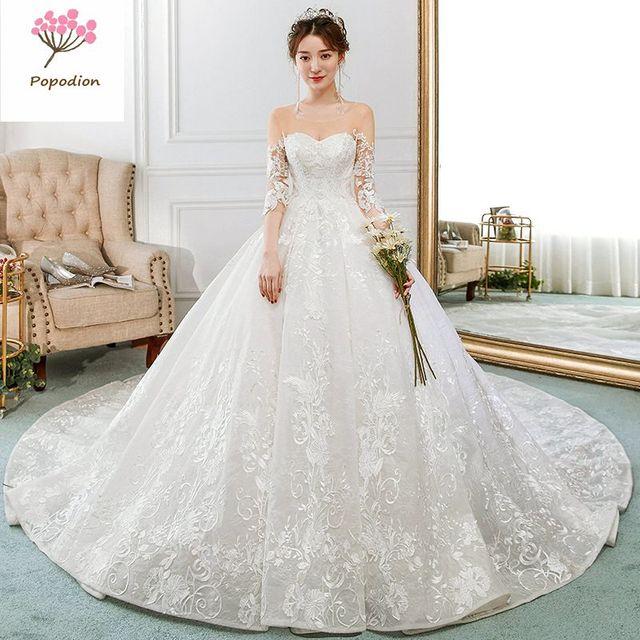 84bafdf10 Popodion media manga encaje retro cola larga boda vestido de novia vestido  de boda vestido de