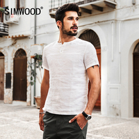 SIMWOOD 2017 Summer Shorts Sleeve Men Shirts 100 Pure Linen Breathable Slim Fit Brand Clothing Plus