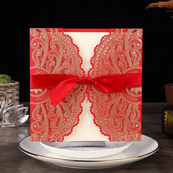 2019 NEW Laser Cut Wedding Invitations 50pcs China Luxury Elegant Lace Invitations Birthday Party Wedding Invitation