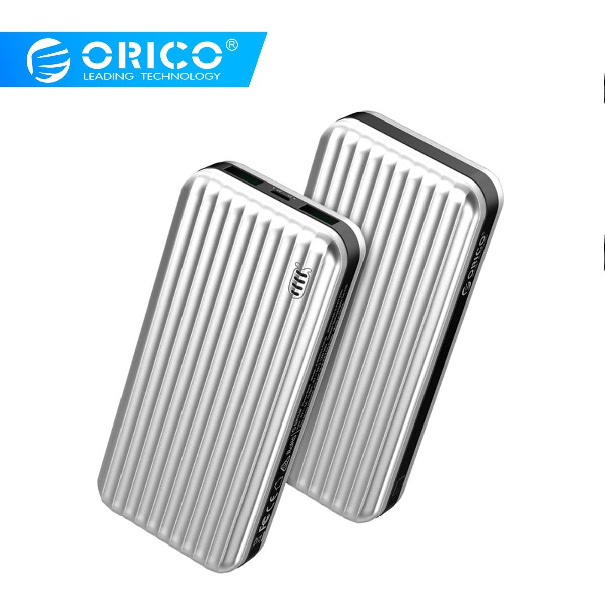 ORICO 20000 mAh batterie externe double Ports 5V2A ABS LED Powerbank batterie externe USB téléphone tablette chargeur pour iPhone Samsung Huawei