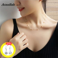 Ataullah Trendy Fashion Shiny 925 Sterling Silver Floating Pearl Necklace Pendant Chain Choker For Women Girl Jewelry NW004NS2