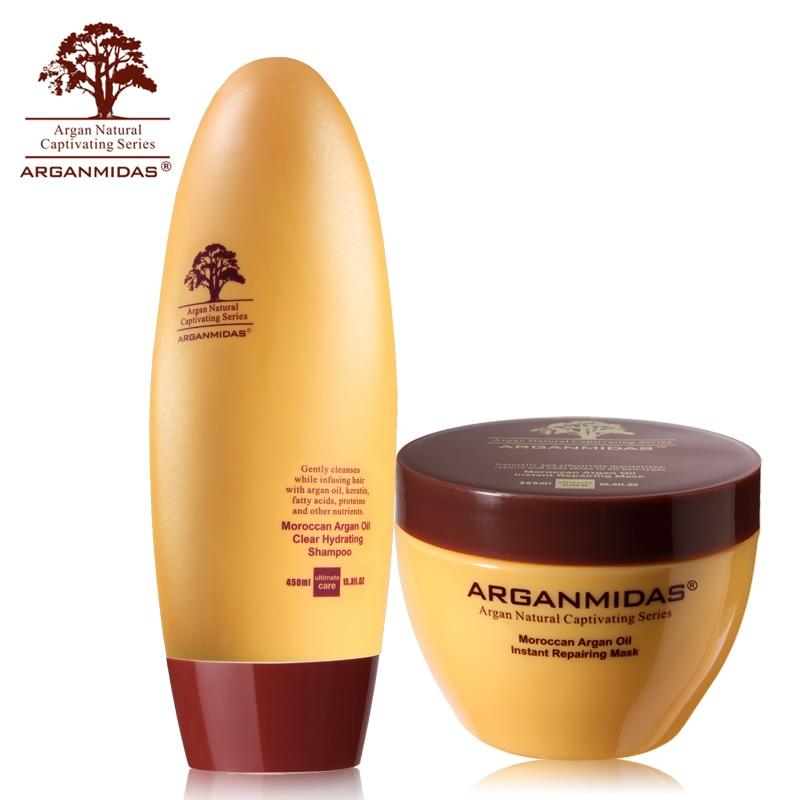 Best Effect Arganmidas Argan Oil 450ml Hair Shampoo+300ml Hair Mask Deep Care and Make Hair Nourishing Smoothing Free Shipping new product 500ml arganmidas fresh mini hair shampoo