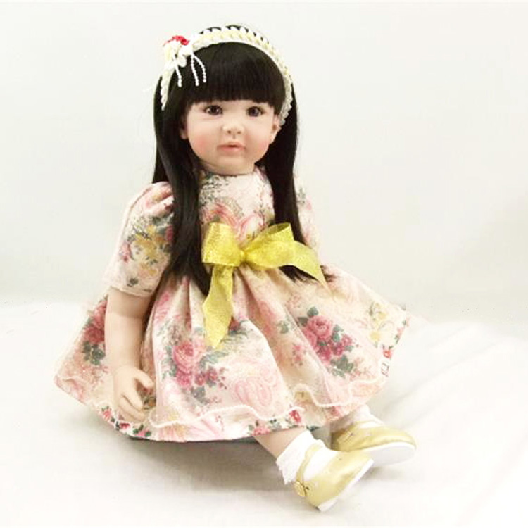 60 cm Reborn bébé poupées doux toucher belle princesse bébé poupée en jaune arc jupe réaliste belle Reborn bébé Pupular meilleurs cadeaux