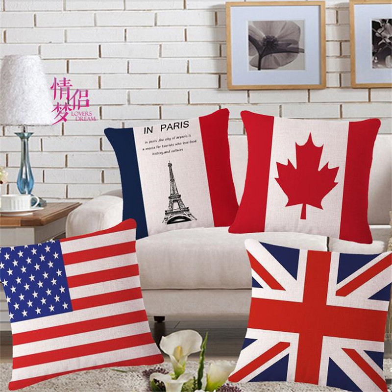 bright flag decorative throw pillows case for sofa home decor canada america france theunionflag funda cojines - Decorative Pillows Cheap