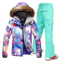Women Gsou Snow Ski Suit Windproof Waterproof Breathable Women's Snowboard Colorful Clothes Winter Jacket And Pants