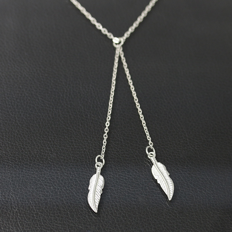 Original Simple Small Pure and Fresh Fashion Short Golden Leaves Modelling Elegant Exquisite Clavicle Necklace Jewelry 2 Colors