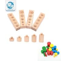 Wooden Montessori Education Cylinder Sockets Block Toys Baby Development Practice Sensory Set Family Toys