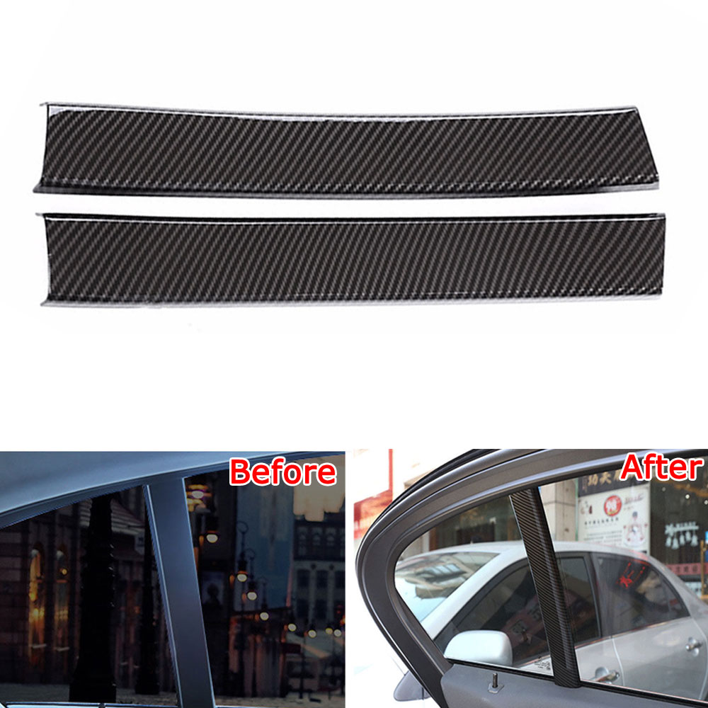 Car Styling Interior Rear Seat Window C Pillar Cover Trim Carbon Fiber Style Chrome ABS Decoration Molding For BMW 5 Series 2018