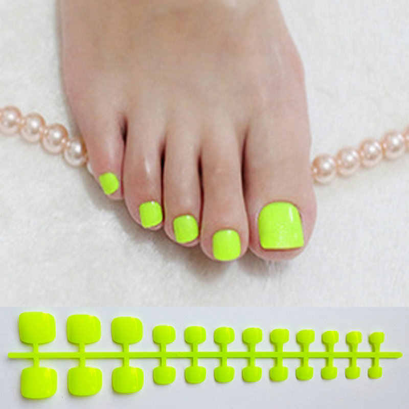 Bright Green Acrylic Fake Toe Nails Square Press On Nails For Girls Articficial Candy Macaron Color False Toenails For Girls