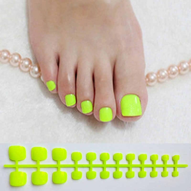 Faux ongles en acrylique vert vif presse carrée sur les ongles pour les filles