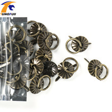 "30pcs 19mm Vintage metal tin box decorated handle Mini Drawer Door ring pulls 0.74"" Iron Jewelry Storage Wooden Box Case Handle(China)"