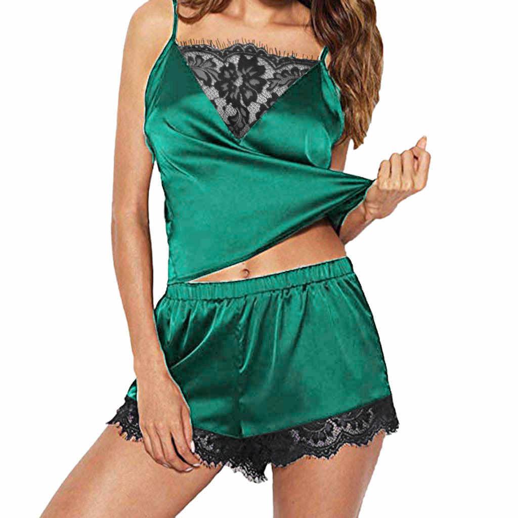 Женская одежда для сна без рукавов Ночная сорочка на бретельках кружевная отделка Атласный топ на бретельках пижамный комплект пижамные штаны Женская модная Пижама с кружевами femme
