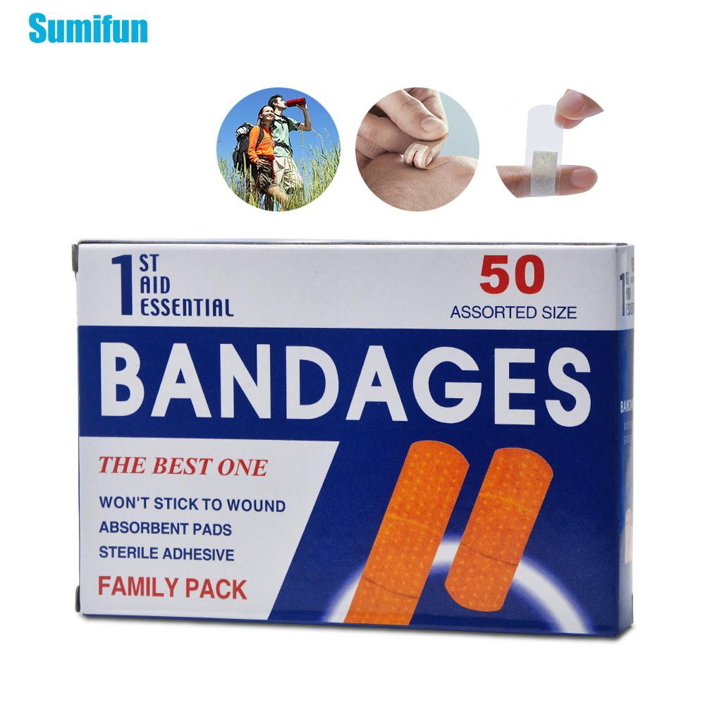 100pcs/2Box First Aid Bandage Hemostasis Sticker Disposable Waterproof Band-Aid With A Sterile Gauze Pad Emergency Kit Z13402
