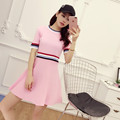 [Alphalmoda] Summer Short-sleeved A-line Knitted Dress Sporty Striped Pullovers Ladies Short Casual Knitting Dress