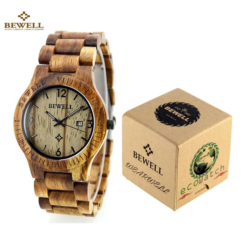 Prix pour Bewell bois montres top marque hommes montre étanche lumineux horloge hommes femmes en bois montre-bracelet relogio feminino masculino
