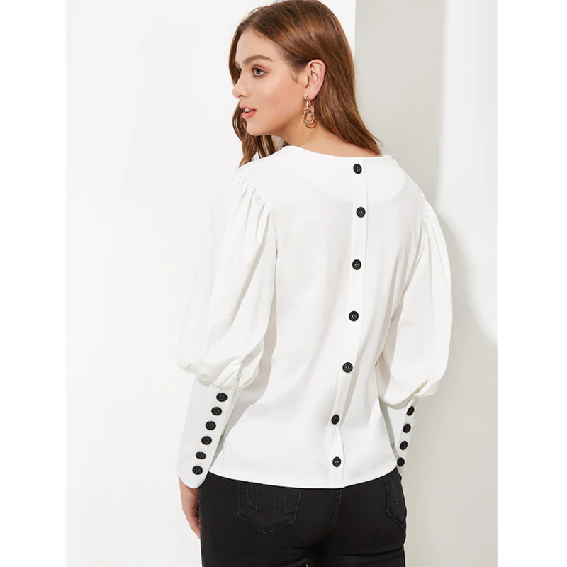 2019 V neck women   blouse     shirt   Puff sleeve button white   blouse   Autumn winter lady   shirt   top Female office chiffon   blouse   tops