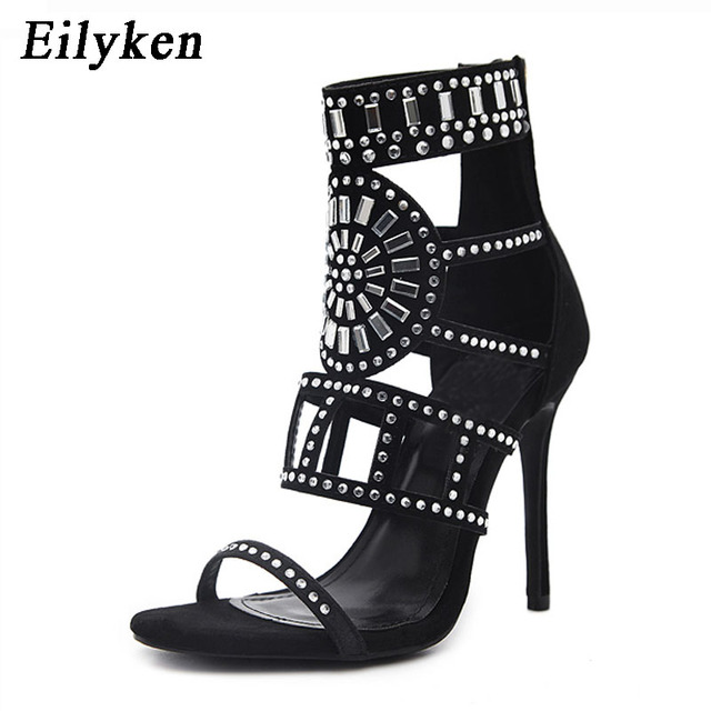 Eilyken Women Sandals 2018 Summer Gladiator Peep Toe High Heels Hollow Pumps  Crystal Party Shoes 0dc0b779e1cf