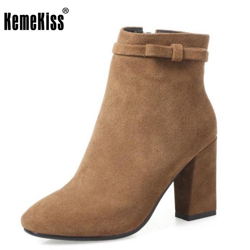 KemeKiss Ladies Genuine Leather Thick High Heels Boots Women Zip Bowknot Half Short Boots Winter Warm Botas Footwear Size 33-43
