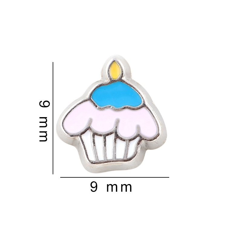 Free Shipping, 20pcs Enamel Cake Floating Charms Fit For Glass Living Memory Lockets, Gifts