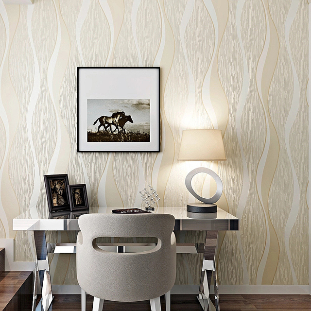 Modern Minimalist Geometric Wave Curve Stripes Non Woven Wallpaper Living Room Dining Bedroom TV