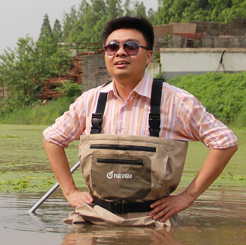 Neygu outdoor fishing wader with neoprene socks on feet, the hunting wader is waterproof & breathable