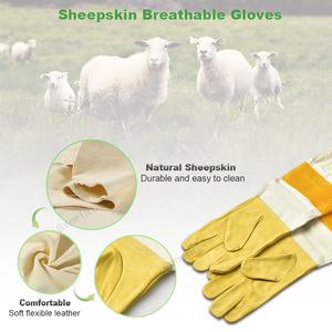 Image 2 - Top Brand Benefitbee Bee Gloves Beekeeping Glove Sheepskin New Vented Mesh Gloves with Long Sleeves Apicultura Bee Equipment